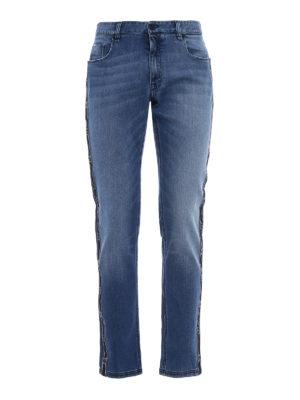 Fendi: straight leg jeans - Logo strips denim slim jeans