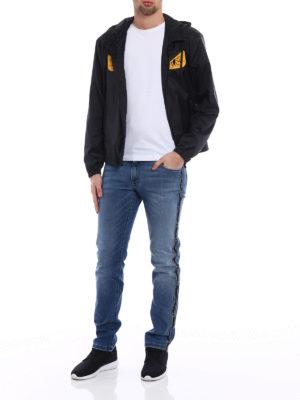 Fendi: straight leg jeans online - Logo strips denim slim jeans