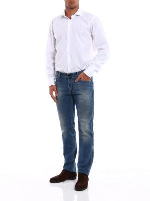 Fendi: straight leg jeans online - Regular embroidered pocket jeans