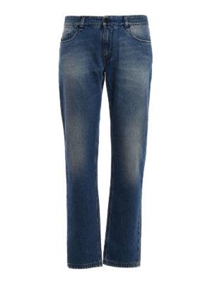 Fendi: straight leg jeans - Regular embroidered pocket jeans