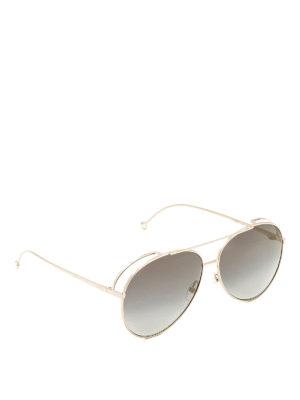 Fendi: sunglasses - Golden metal aviator sunglasses
