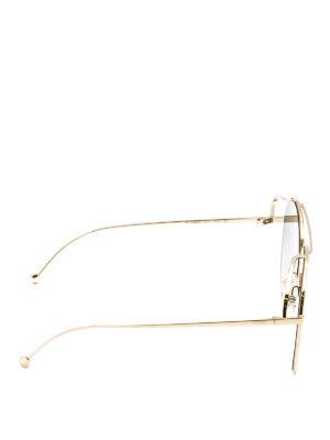 Fendi: sunglasses online - Golden metal aviator sunglasses
