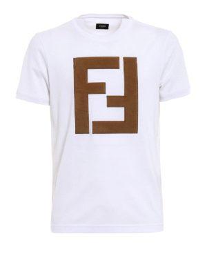 Fendi: t-shirts - Alcantara® maxi logo patch T-shirt