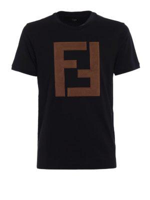 Fendi: t-shirts - Alcantara® maxi logo patch Tee