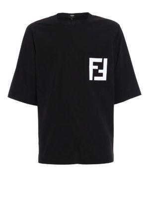 Fendi: t-shirts - FF print poplin over T-shirt