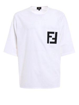 Fendi: t-shirts - FF print poplin oversized T-shirt