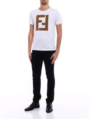 Fendi: t-shirts online - Alcantara® maxi logo patch T-shirt