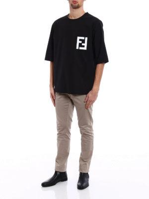 Fendi: t-shirts online - FF print poplin over T-shirt