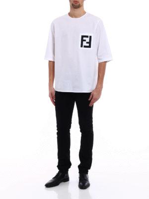 Fendi: t-shirts online - FF print poplin oversized T-shirt