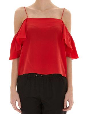 Fendi: Tops & Tank tops online - Off the shoulder flounced silk top