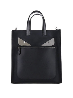 Fendi: totes bags - Bag Bugs leather and nylon tote
