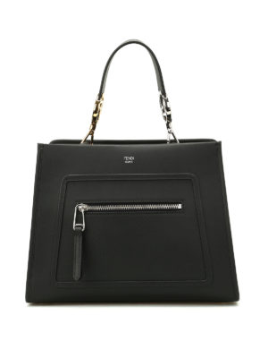 Fendi: totes bags - Matte black leather small tote