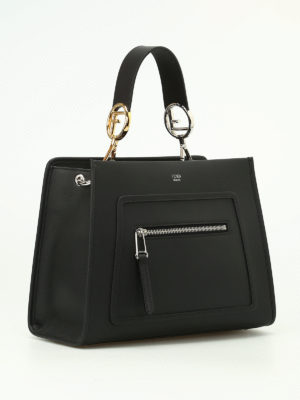 Fendi: totes bags online - Matte black leather small tote
