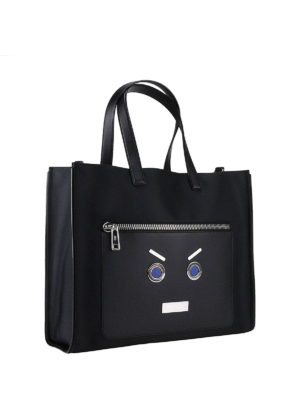 Fendi: totes bags online - No Words nylon and leather tote