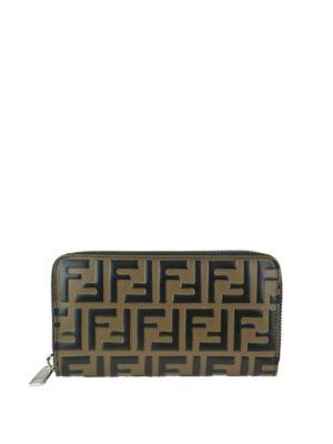 FENDI: portafogli - Portafoglio in pelle marrone con FF goffrato