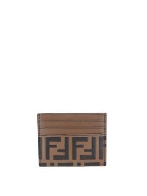 FENDI: portafogli - Portacarte in pelle con FF in rilievo