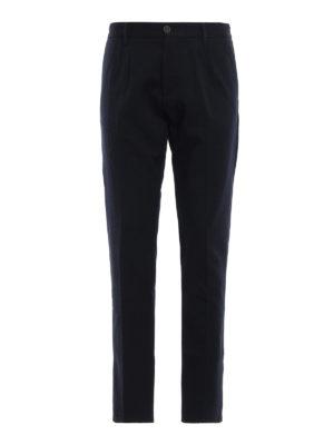 FORTELA: pantaloni casual - Pantaloni in twill di lana misto cotone blu