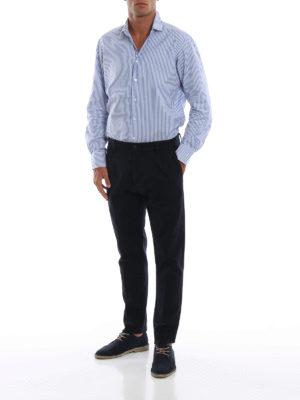 FORTELA: pantaloni casual online - Pantaloni in twill di lana misto cotone blu