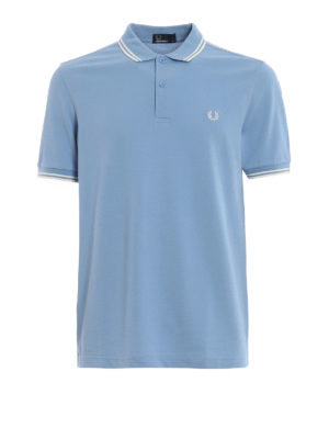 FRED PERRY: polo shirts - Sky blue cotton piqué polo shirt