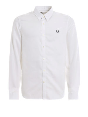 FRED PERRY: shirts - Logo embroidery pique cotton shirt