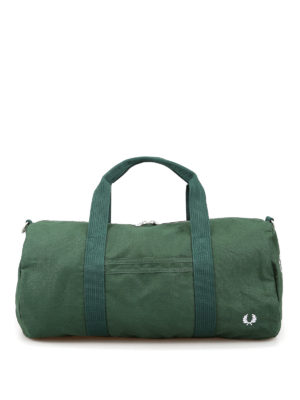 FRED PERRY: sport bags - Branded tartan green canvas duffle bag