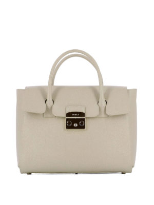 Furla: bowling bags - Metropolis beige leather hand bag