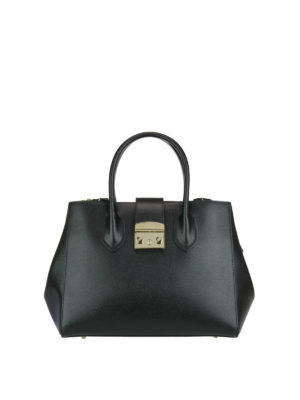 Furla: bowling bags - Metropolis black leather small bag