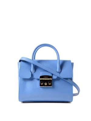 Furla: bowling bags - Metropolis S light blue satchel