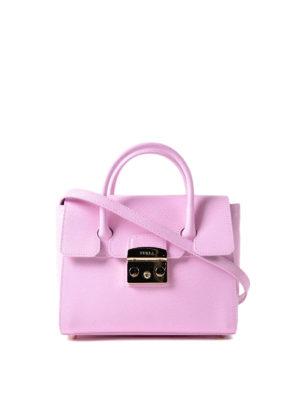 Furla: bowling bags - Metropolis S pink leather satchel
