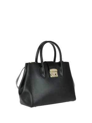 Furla: bowling bags online - Metropolis black leather small bag