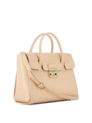 Furla: bowling bags online - Metropolis pink leather hand bag