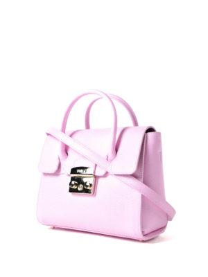 Furla: bowling bags online - Metropolis S pink leather satchel