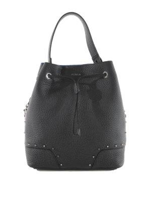 Furla: Bucket bags - Stacy studded leather bucket bag