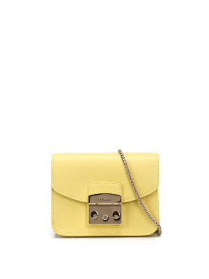 Furla: clutches - Metropolis lime leather clutch