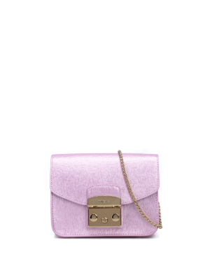 Furla: clutches - Metropolis metallic leather clutch