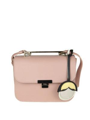FURLA: borse a tracolla - Elisir Mini in pelle resinata rosa