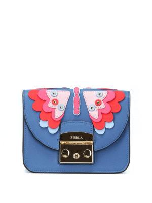 FURLA: borse a tracolla - Mini borsa Metropolis Papillon color genziana