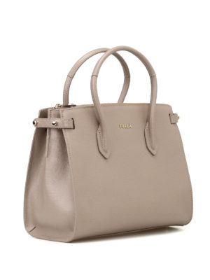 FURLA: shopper online - Shopper Pin S in saffiano beige