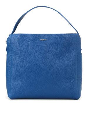 FURLA: borse a spalla - Borsa hobo blu Capriccio M