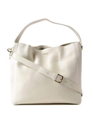 Furla: shoulder bags - Capriccio M white leather hobo bag