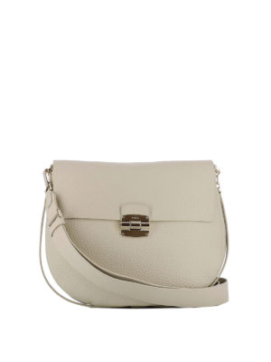 Furla: shoulder bags - Club beige leather saddle bag