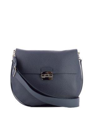 Furla: shoulder bags - Club blue leather saddle bag