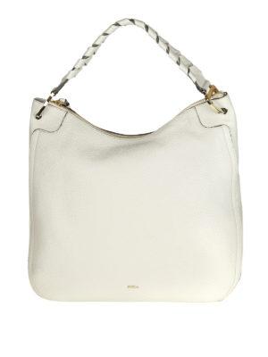 FURLA: borse a spalla - Borsa a spalla in pelle bianca Rialto XL