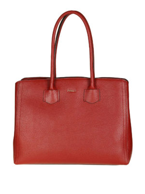 FURLA: shopper - Borsa grande Alba color ciliegia