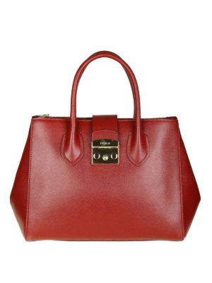 FURLA: shopper - Borsa Metropolis in pelle color ciliegia