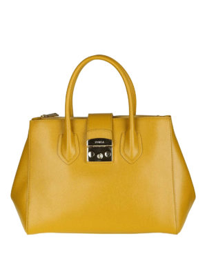 FURLA: shopper - Borsa Metropolis in pelle color senape