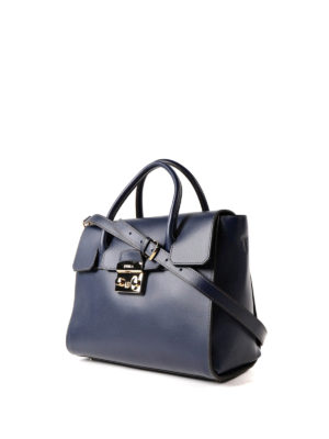 Furla: totes bags online - Metropolis M dark blue leather bag