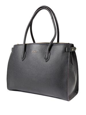 Furla: totes bags online - Pin black medium tote