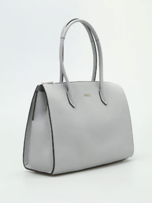 Furla: totes bags online - Pin L grey leather bowling bag