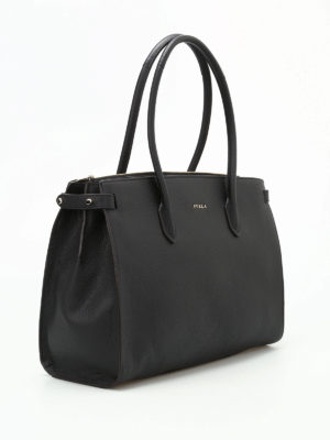 Furla: totes bags online - Pin M black grainy leather tote